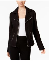 Alfani - Textured Knit Moto Jacket - Lyst