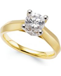 Macy's - Certified Diamond Solitaire Engagement Ring (1 Ct. T.w.) In 14k White Or Two-tone Gold - Lyst