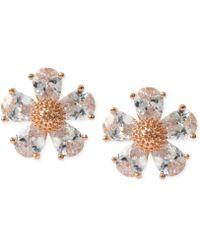 Betsey Johnson - Gold-tone Crystal Flower Stud Earrings - Lyst