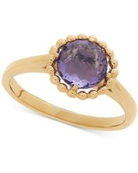 Macy's - Amethyst Beaded Frame Ring (1-1/6 Ct. T.w.) In 10k Gold - Lyst