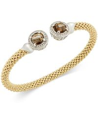 Macy's | Smoky Quartz (4-3/4 Ct. T.w.) & Diamond (1/3 Ct. T.w.) Mesh Cuff Bracelet In 14k Gold-plated Sterling Silver | Lyst
