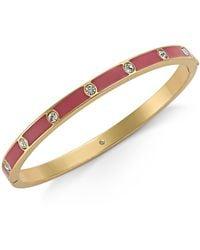Kate Spade - Gold-tone Crystal Enamel Hinged Bangle Bracelet - Lyst
