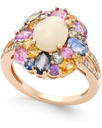 Macy's - Opal (1 Ct. T.w.), Multi-sapphire (3 Ct. T.w.) And Diamond (1/10 Ct. T.w.) Ring In 14k Rose Gold - Lyst