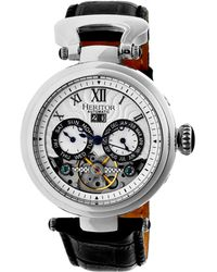 Heritor - Automatic Ganzi Silver Leather Watches 44mm - Lyst