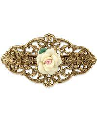 2028 - Gold-tone Ivory Porcelain Rose Barrette - Lyst