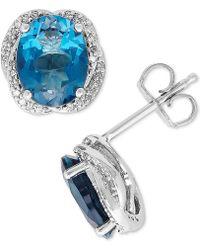 Macy's - London Blue Topaz (4-3/8 Ct. T.w.) & Diamond (1/6 Ct. T.w.) Stud Earrings In Sterling Silver - Lyst