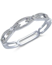 Charter Club - Silver-tone Pavé Crystal Link Hinge Bracelet - Lyst