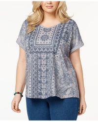 Style & Co. - Plus Size Printed Cuffed-sleeve Top - Lyst
