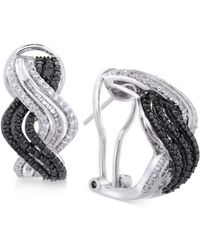 Wrapped in Love - Diamond Wavy Drop Earrings (1 Ct. T.w.) In Sterling Silver - Lyst