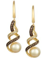 Le Vian - ® Cultured Golden South Sea Pearl (8mm) & Diamond Swirl Drop Earrings (1/2 Ct. T.w.) In 14k Gold - Lyst
