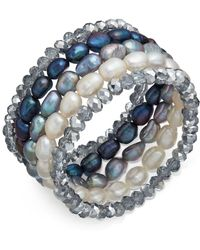 Macy's - 5-pc. Set White, Gray & Peacock Cultured Freshwater Baroque Pearl (7mm) And Rondel Crystal Stretch Bracelets - Lyst