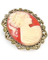 2028 - Gold-tone Simulated Orange Cameo Oval Brooch - Lyst