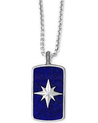 Effy Collection - Men's Lapis Lazuli (35-1/2 X 19-1/2mm) Starburst Pendant Necklace In Sterling Silver - Lyst