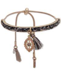 Lonna & Lilly - Gold-tone Crystal Evil Eye Braid & Tassel Slider Bracelet - Lyst