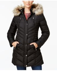 Laundry by Shelli Segal - Faux-fur-trim Quilted Puffer Coat - Lyst