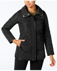 Cole Haan - Faux-leather-trim Quilted Coat - Lyst
