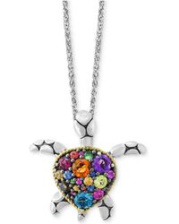 Effy Collection - Multi-gemstone Turtle Necklace (2 Ct. T.w.) In Sterling Silver - Lyst