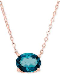 "Macy's - London Blue Topaz 17"" Pendant Necklace (2-1/5 Ct. T.w.) In 14k Rose Gold - Lyst"