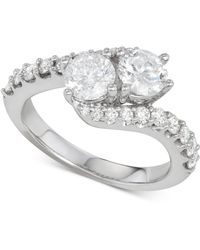 Macy's - Diamond Two-stone Twist Engagement Ring (2 Ct. T.w.) In 14k White Gold - Lyst