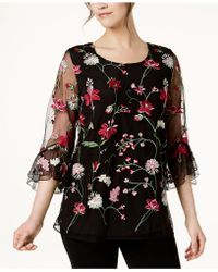 Alfani - Embroidered Bell-sleeve Top, Created For Macy's - Lyst