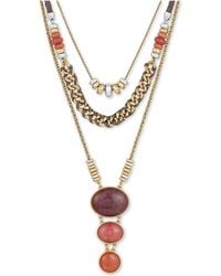 """Lucky Brand - Two-tone Bead, Stone & Leather Cord 18"""" Statement Necklace - Lyst"""