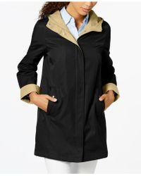 Jones New York - Hooded Colorblocked Raincoat - Lyst