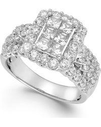 Macy's - Diamond Halo Ring In 14k White Gold (2 Ct. T.w.) - Lyst