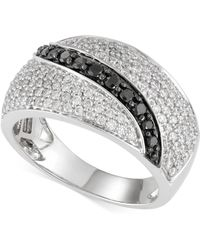 Macy's - Black And White Diamond Ring (1 Ct. T.w.) In 14k White Gold - Lyst