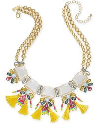 """INC International Concepts - I.n.c. Gold-tone Stone, Crystal & Tassel Statement Necklace, 18"""" + 3"""" Extender, Created For Macy's - Lyst"""