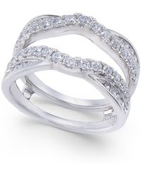 Macy's - Diamond Curved Overlapped Solitaire Enhancer Ring Guard (1 Ct. T.w.) In 14k White Gold - Lyst