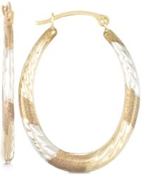 Macy's - Tri-tone Textured Oval Hoop Earrings In 10k Yellow, White And Rose Gold - Lyst