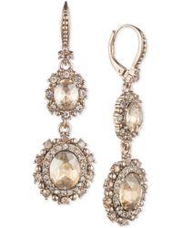 Marchesa - Gold-tone Crystal Double Drop Earrings - Lyst