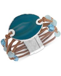 Lonna & Lilly - Silver-tone Bead & Stone Suede Magnetic Bracelet - Lyst
