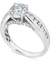 Macy's - Diamond Halo Channel-set Engagement Ring (1 Ct. T.w.) In 14k White Gold - Lyst
