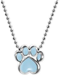 "Alex Woo - Blue Enamel Activist Paw Print 16"" Pendant Necklace In Sterling Silver - Lyst"