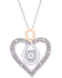 Macy's | Diamond Two-tone Heart Necklace (1/10 Ct. T.w.) In Sterling Silver And 10k Gold | Lyst