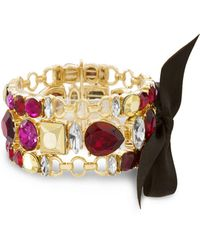 Catherine Malandrino - Red, Hot Pink And Metallic Rhinestone 3-row Black Ribbon Yellow Gold-tone Trio Link Bracelet Set - Lyst