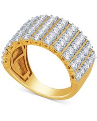 Macy's - Diamond Five-row Cluster Ring (2 Ct. T.w.) In 14k Gold Or White Gold - Lyst