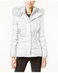 Jones New York - Faux-fur-trimmed Hooded Quilted Puffer Coat - Lyst