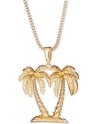 """Macy's - Palm Tree 24"""" Pendant Necklace In 18k Gold-plated Sterling Silver - Lyst"""