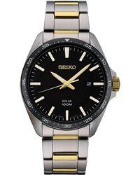 Seiko - Men's Solar Essentials Two-tone Stainless Steel Bracelet Watch 43mm - Lyst