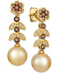 Le Vian - ® Cultured Golden South Sea Pearl (9mm) & Diamond (1/2 Ct. T.w.) Drop Earrings In 14k Gold - Lyst