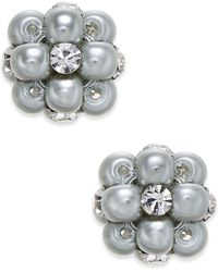 Charter Club - Silver-tone Pink Imitation Pearl And Crystal Cluster Earrings - Lyst
