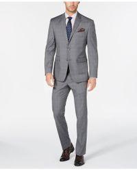 Perry Ellis - Portfolio Slim-fit Stretch Light Grey Windowpane Suit - Lyst