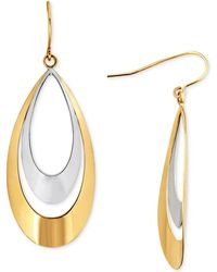 Macy's - Two-tone Double Teardrop Drop Earrings In 10k Gold - Lyst