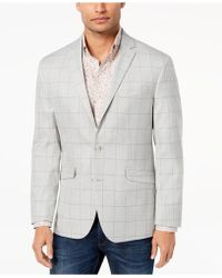 Kenneth Cole Reaction - Slim-fit Stretch Light Gray Windowpane Sport Coat - Lyst