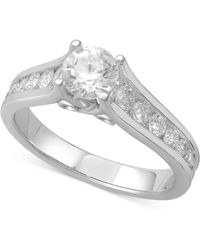 Macy's - Diamond Channel-set Engagement Ring (1-1/4 Ct. T.w.) In 14k White Gold - Lyst