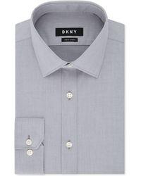 DKNY - Slim-fit Stretch Gray Solid Dress Shirt - Lyst