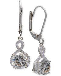 Macy's - Cubic Zirconia Infinity Leverback Earrings In Sterling Silver - Lyst