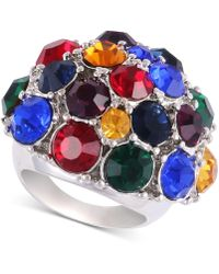 Guess - Silver-tone Multicolor Crystal Statement Ring - Lyst